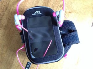 Armpocket armband suitable for a large touch screen phone/ipod as well as a myriad of other useful things.