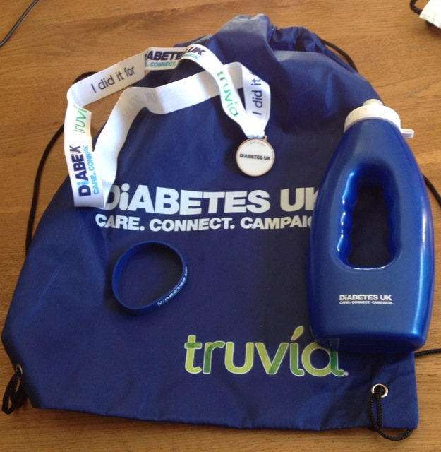 The Diabetes UK goodie bag (less the apple and sultanas, which I ate on route!)